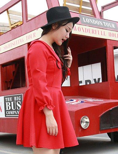 Manga Pan Simple Desy De Collar casual Dresssolid Loose invierno Rodilla Negro Grandes Algodón La Por Mujeres Tallas Rojo Larga Diario Encima Otoño Peter negro nylon pzqfap