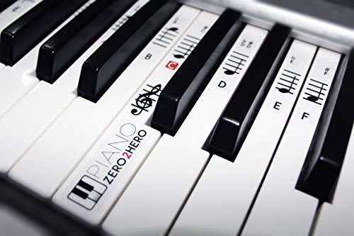 Accelerate Trainer - Piano Zero 2 Hero Musical Note Stickers - Removable and Transparent Keyboard/Piano Musical Note Trainer For All Ages. Accelerate Your Piano Skills Today!