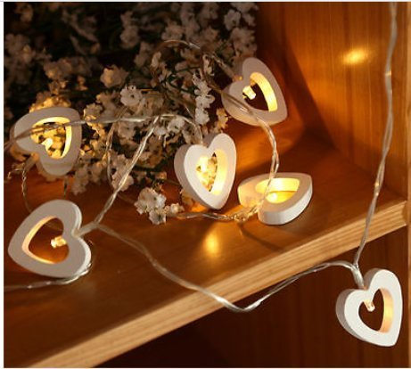 new concept 20d1f 07916 Garden Mile 10x Wooden Heart Shaped Fairy String Lights 1.3m Shabby Chic  Christmas Lights Battery Operated Decorative Bedroom Mood Lighting