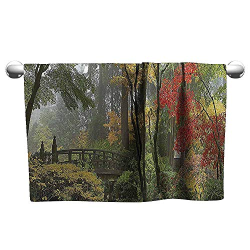 Mannwarehouse Apartment Decor Collection Quick Dry Towel Wet Wooden Bridge at Portland Japanese Garden Oregon in Autumn with Various Trees Picture W10 x L39 Paprika Green (Best Hamburgers In Portland Oregon)