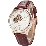KS Royal Carving Men's Analog Skeleton Dial Brown Leather Band Automatic Mechanical Watch KS300