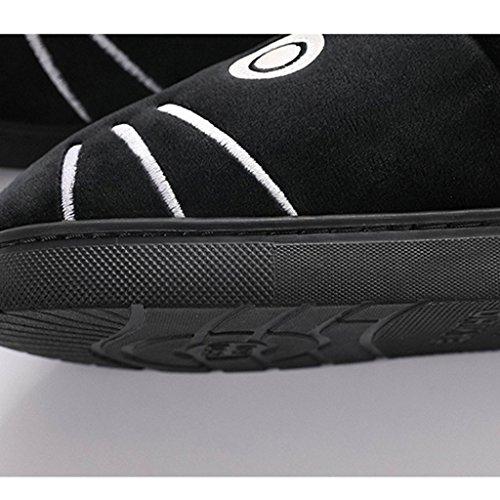 Femme Chaussures Noir Animé Antidérapants B Hiver Chaud Pantoufles Coton Dessin Joli q7aZZ1