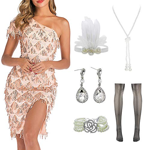 Women Halter V-Neck Sequins Tassel 1920s Flapper Inspired Party Dance Dress with 20s Gatsby Accessories Set (M, Style 2 Champagne)