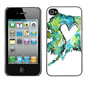 Soft Silicone Rubber Case Hard Cover Protective Accessory Compatible with Apple iPhone? 4 & 4S - painting watercolor teal green love