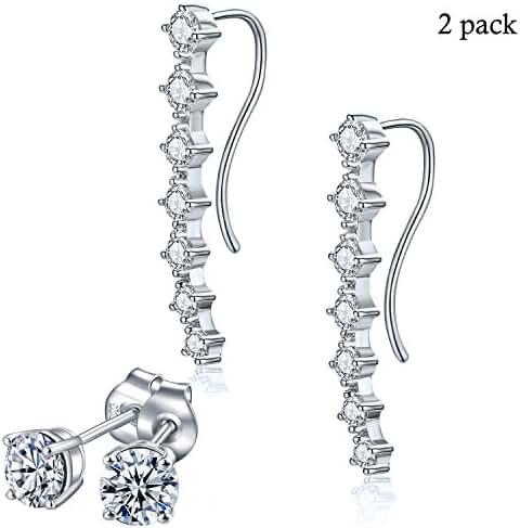 Rhinestone Crawler Climber Ear Cuff Earrings - Drop Clip On Silver Plated Zirconia CZ Stud Earrings for Women