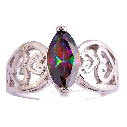 Empsoul 925 Sterling Silver Natural Gorgeous Plated Marquise Cut Rainbow Topaz Heart Symbel Wedding Engagement Ring