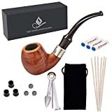 Capo Lily Tobacco Pipes, Handmade Pear Wood Bent Smoking Pipe with Accessories(Scraper/Filter Element/Filter Ball/Pipe Tip Grips/Gift Box/Bag)