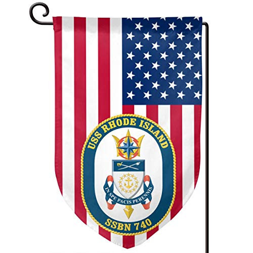 Navy USS Rhode Island SSBN-740 Decorative Garden Flag Home Decor Yard Banner 12.5X18 Inch Printed Double Sided Fillet