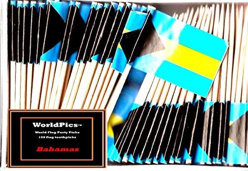 One Box Bahamas Toothpick Flags, 100 Small Mini Bahamian Flag Cupcake Toothpicks or Cocktail Picks