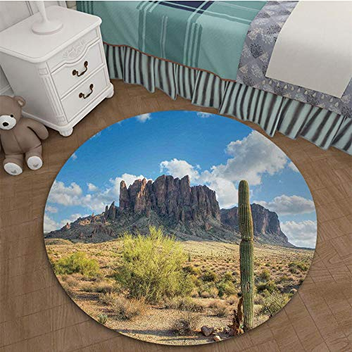 Classic Non-Slip Backing Machine Washable Round Area Rug Mat 2.62 Ft Diameter Saguaro Cactus Decor,Famous Canyon Cliff with Dramatic Cloudy Sky Southwest Terrain Place Nature,Brown Green - 17077 Kit