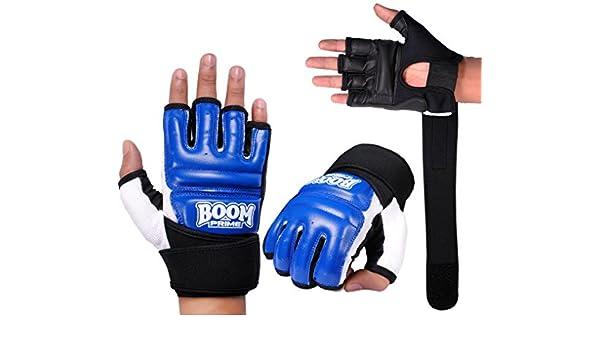 BOOM Pro Cuero Azul Body Gel Guantes de Boxeo Saco de Boxeo Guantes Artes Marciales