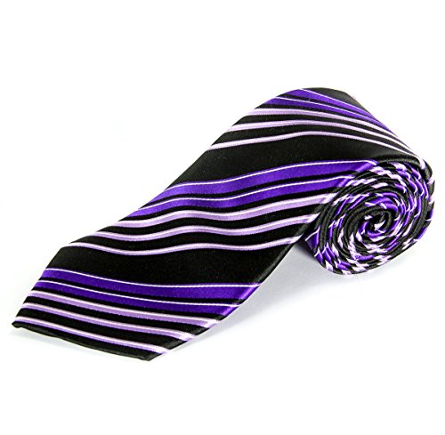 Sean John Men's Olympic Stripe Neck Tie, Black / Purple