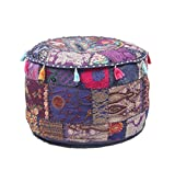 GANESHAM Indian Home & Living Decor Hippie Patchwork Bean Bag Boho Bohemian Hand Embroidered Ethnic Handmade Pouf Ottoman Vintage Cotton Floor Pillow & Cushion 22'' H x 14'' Diam.