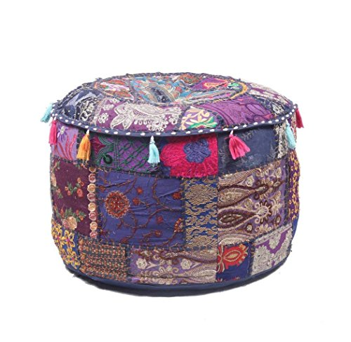GANESHAM Indian Home & Living Decor Hippie Patchwork Bean Bag Boho Bohemian Hand Embroidered Ethnic Handmade Pouf Ottoman Vintage Cotton Floor Pillow & Cushion 22'' H x 14'' Diam. by GANESHAM