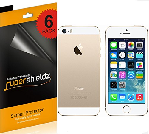 (6 Pack) Supershieldz High Definition Clear Screen Protector for Apple iPhone 5 5S (3 Front and 3 Back)