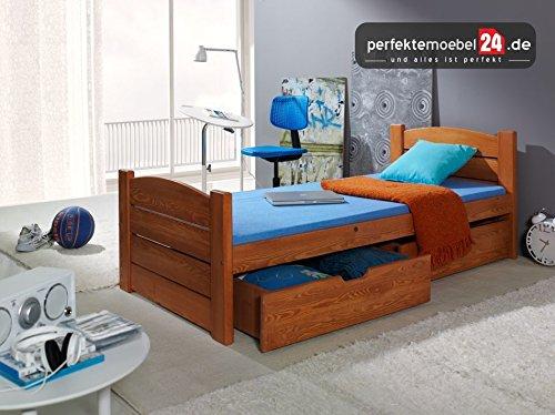 PM_ROM06 Einzelbett, Kinderbett, Jugenbett, Holzbett Kieferbett inkl. Matratze und Bettkasten (BEIZE)