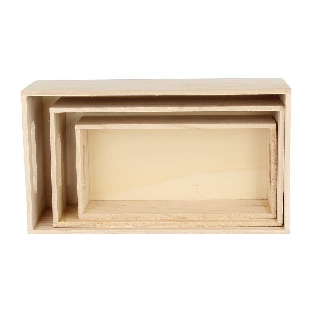 color beige Juego de 3 cajas para almacenamiento Artemio