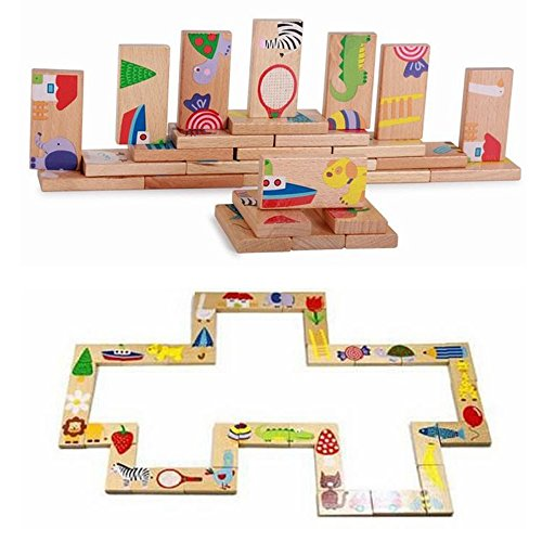 Pevor 28個/セット幼児教育ベビーおもちゃ動物ソリティアパズルDomino木製おもちゃブロック