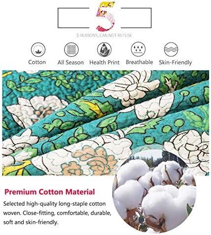 TOSBTD Couvre-lit de Style américain Imprimé Fleuri Vert Couvre-lit réversible 100% Coton Ensemble de Couvre-lit matelassé 3 pièces avec 2 Couvre-oreillers Reine/King Size