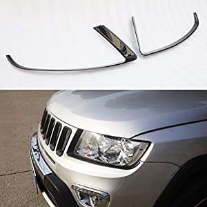 Wotefusi Car New Black Color ABS Front Headlight Lamp Light Eyelid Eyebrow Cover Molding Trim Frame Rim Kit Set For Jeep Compass 2011-2016 2012 2013 2014 2015
