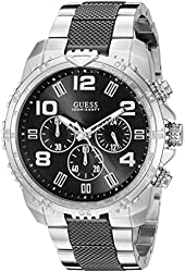 GUESS Men's U0598G3 Stainless Steel & Black Sport Chronograph Watch with Tachymeter Rotating Bezel