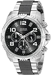 GUESS Men's U0598G3 Sporty Silver-Tone Stainless Steel Watch with Multi-function Dial and Deployment Buckle