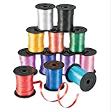 Curling Ribbon - 12 Pack Assorted Colors - 60 Inch Ribbon Rolls For Florist, Flowers, Arts & Crafts, Gift Wrapping, Hair, School, Girls, By Ecstatic Novelty