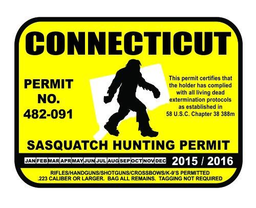 Connecticut Sasquatch Hunting Permit License Bigfoot Vinyl Sticker Decal