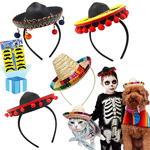 Cheap Themes For Parties (Cinco De Mayo 4 Pcs Small Fiesta Sequined Fabric and Straw Sombrero Headbands Party Costume for Mexican Theme Party,Fun Fiesta Taco Party Supplies, Luau Party Photo Props, Dia De Muertos,)