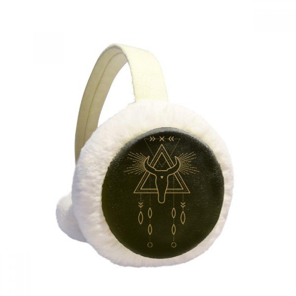 Geometry Alien Symbol Totem Pattern Winter Earmuffs Ear Warmers Faux Fur Foldable Plush Outdoor Gift