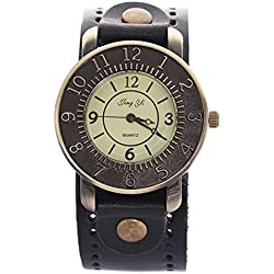 Binmer(TM) Retro Punk Watches Men Women Rock Big Cuff Gothic Wide Leather Bracelet Wrist Watch (Black)