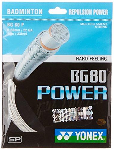 Yonex BG80 Power Badminton Strings, 0.68mm  White