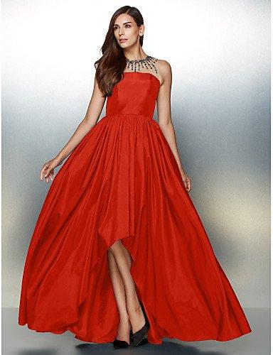 Noche De Vestido Red Prom Tafetán De Línea HY Cuello Formal amp;OB De Detallando Con Joya Asimétrica Una Crystal qn7Yv