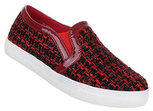 Damen Schuhe Halbschuhe Stoff Slipper Rot