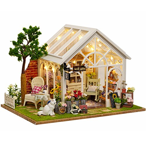 CUTEBEE Dollhouse Miniature with Furniture, DIY Dollhouse Kit Plus Dust Proof and Music Movement, 1:24 Scale Creative Room Idea(Sunshine Garden)