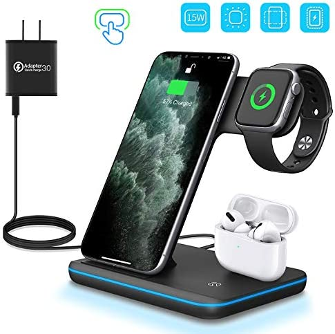 WAITIEE Wireless Charger 3 in 1 Charger Stand 15W QI Fast Charging Station for Apple iWatch Series 5/4/3/2/1AirPods CompatibleiPhone 11 Series/XS MAX/XR/XS/X/8/8 Plus/(Black)
