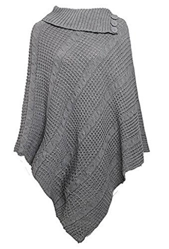 Ladies 3 Button Cable Knitted Poncho Cape Shawl Cardigan