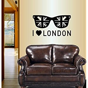Wall Vinyl Decal Home Decor Art Sticker Silhouette I Love London Sunglasses with British Flag England UK Room Removable Stylish Mural Unique Design For Any Room Creative Design Logo House