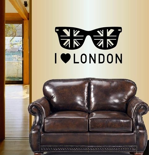 Wall Vinyl Decal Home Decor Art Sticker Silhouette I Love London Sunglasses with British Flag England UK Room Removable Stylish Mural Unique Design For Any Room Creative Design Logo - Sunglasses England
