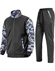 TOTNMC Men's Tracksuit Two Peice Sports Set Camo Long Sleeve Running Sweat Suits