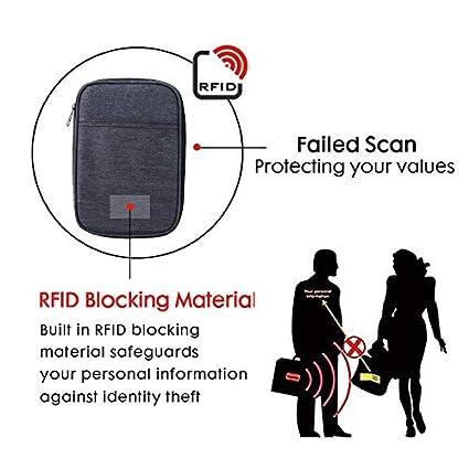 Family Travel Document Organizer//RFID Passport Holder Wallet for Men and Momen Black ROTANET Travel RFID Blocking Wallet Passport Holder