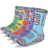 YUEDGE Women's 5 Pairs Wicking Cushion Anti Blister Outdoor Crew Socks for Hiking Walking Running Climbing Backpacking Skiing Year Round(2018 Newest)