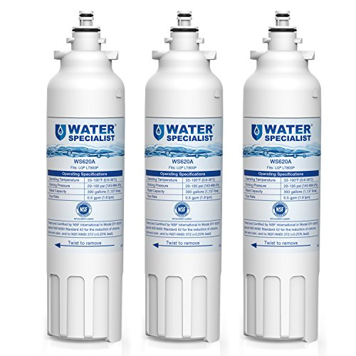 Waterspecialist LT800P Replacement Refrigerator Water Filter, Compatible with LG LT800P, Kenmore 9490, ADQ73613401, LSXS26326S, LMXC23746S, WF-LT800P, 469490, LMXC23746D, ADQ73613402 (Pack of 3)