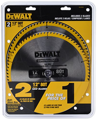 DEWALT 12-Inch Mitter Saw Blade, 80-Tooth, 2-Pack (DW3128P5D80I)