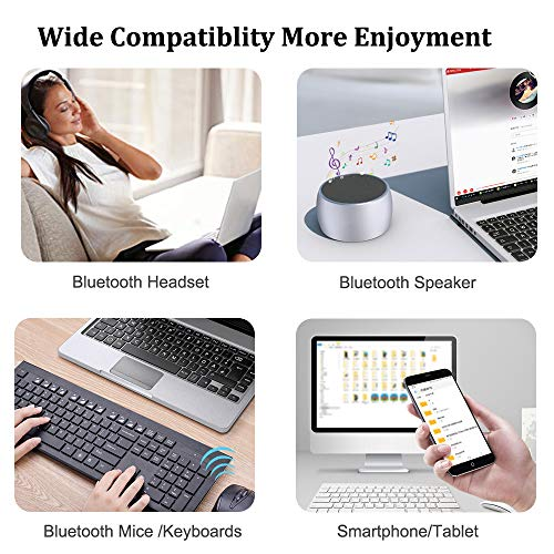 ZEXMTE Bluetooth USB Adapter CSR 4.0 USB Dongle Bluetooth Receiver Transfer Wireless Adapter for Laptop PC Support Windows 10/8/7/Vista/XP,Mouse and Keyboard,Headset