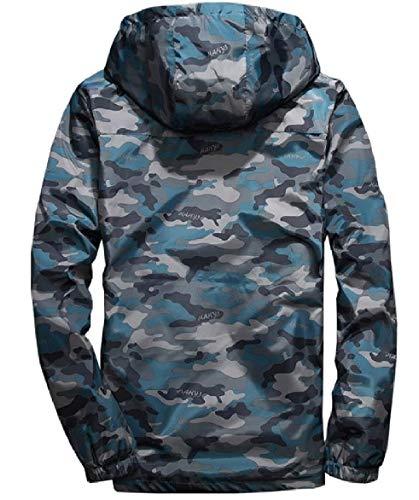 Blue Hooded Outwear Plus Size Howme Men Jacket Zip Windbreaker Full Camo wqZv6CBH