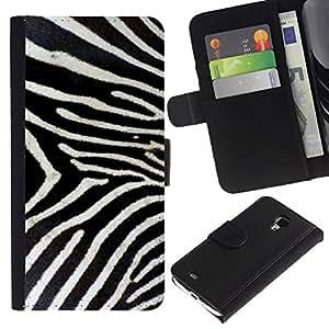 "Samsung Galaxy S4 Mini i9190 / i9195 (Not For Galaxy S4) , la tarjeta de Crédito Slots PU Funda de cuero Monedero caso cubierta de piel ("" Zebra Pattern Whote Black Stripes Nature"")"