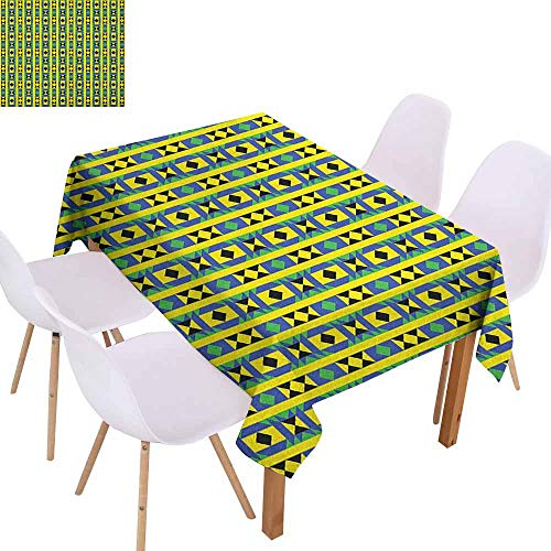 - Wrinkle Resistant Tablecloth Kente Pattern Geometric Vertical Borders Funky Colorful Native Kenya Design with Triangles Picnic W52 xL70 Multicolor
