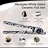 Herstyler White Zebra Ceramic Flat Iron, Dual Voltage Hair Straightener for Hair that Sings with Joy, 1 1/2 Inch
