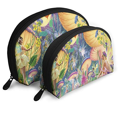 Makeup Bag Little Fairy In Forest Portable Shell Makeup Case For Women Halloween Gift 2 Piece]()